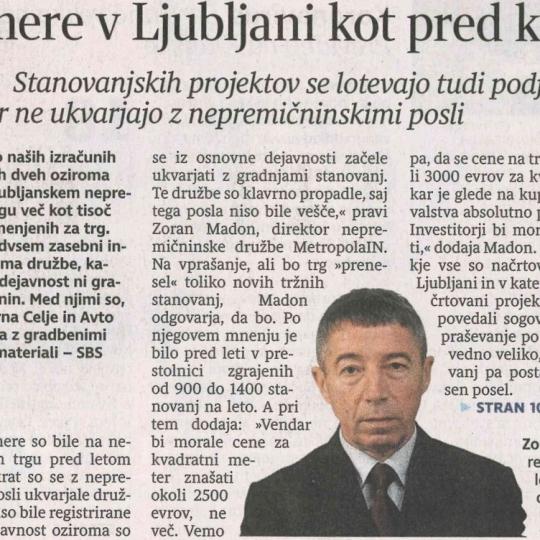 #1 - DELO:  Ljubljani se obeta več kot 1000 stanovanj